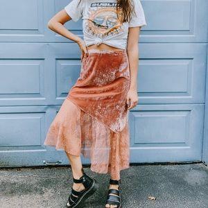 Free People Crushed Velvet & Lace Midi skirt